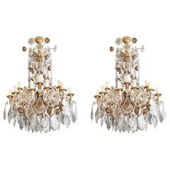 Pair of Antique Crystal Chandelier Ceiling Lamp Murano Lustre Art Nouveau