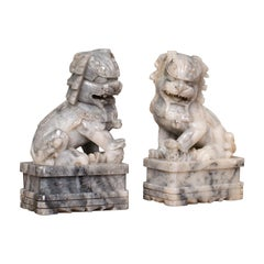 Pair, Antique Decorative Dogs Of Fu, Chinese, Statue, Ornament, Victorian, 1900