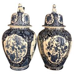 Pair Antique Delft Blue & White Transferware Lidded Vases