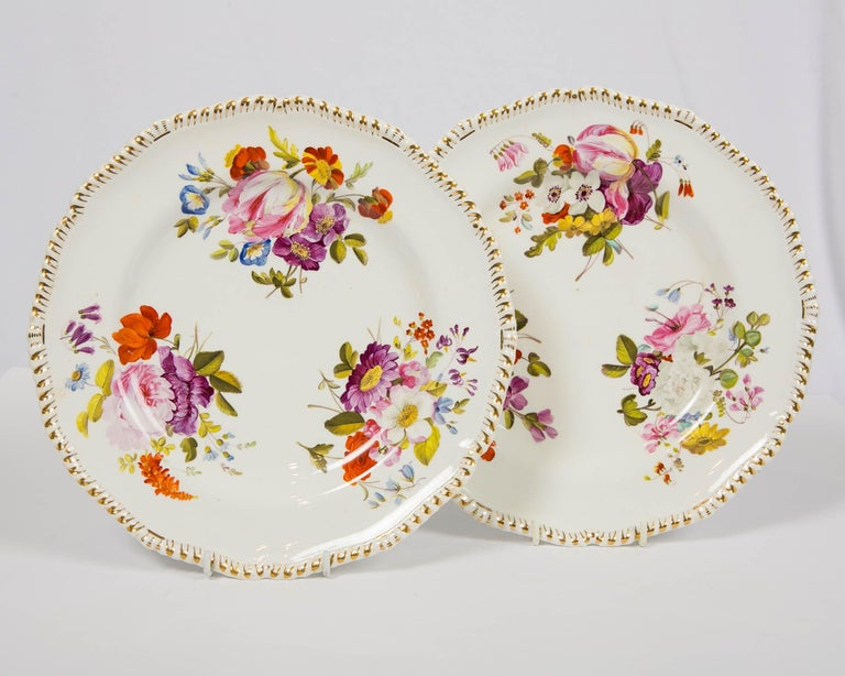 Romantic Pair of Antique Derby Dishes with Flowers Made in England, circa 1825 For Sale