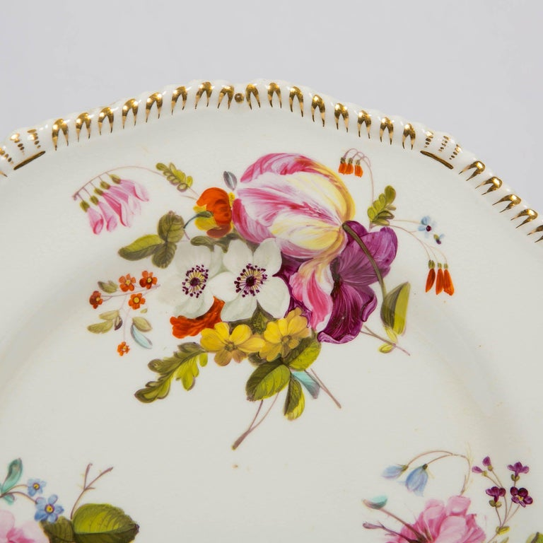 English Pair of Antique Derby Dishes with Flowers Made in England, circa 1825 For Sale