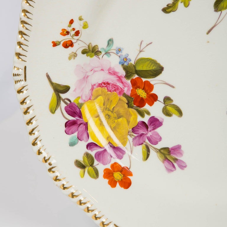Hand-Painted Pair of Antique Derby Dishes with Flowers Made in England, circa 1825 For Sale