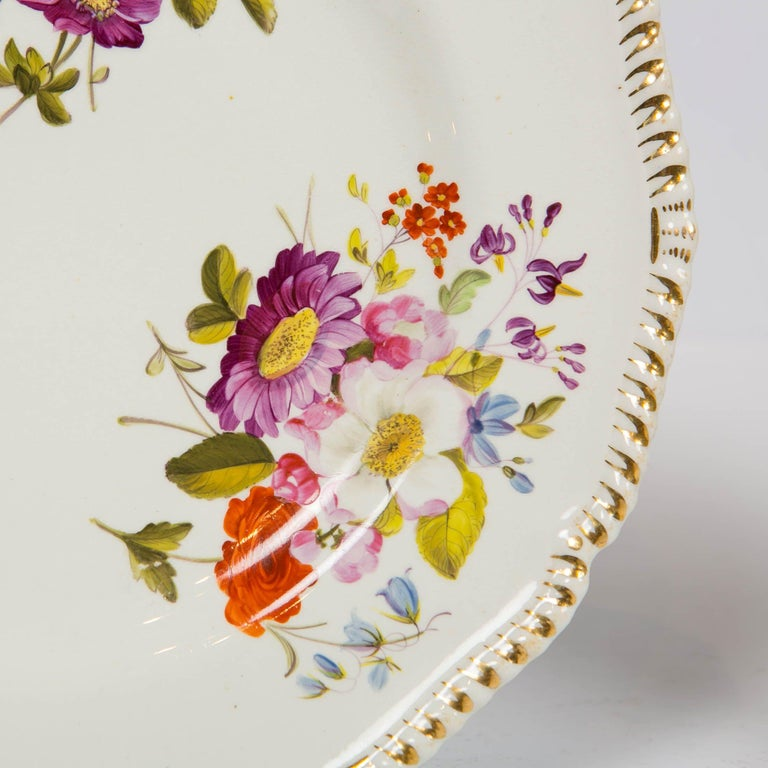 Pair of Antique Derby Dishes with Flowers Made in England, circa 1825 In Excellent Condition For Sale In Katonah, NY