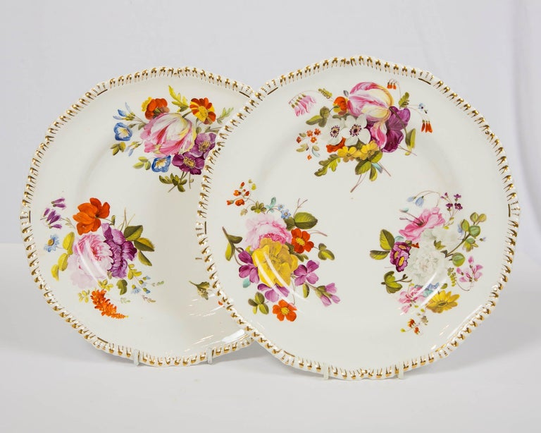 Porcelain Pair of Antique Derby Dishes with Flowers Made in England, circa 1825 For Sale
