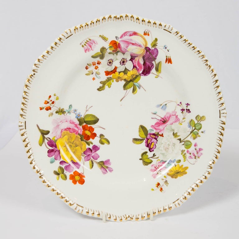 Pair of Antique Derby Dishes with Flowers Made in England, circa 1825 For Sale 1