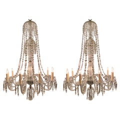 Pair Antique Early 19th Century English Crystal Chandeliers