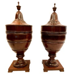 Pair of Antique Edwardian Sheraton Style Urn-Shaped Mahogany Knife Boxes