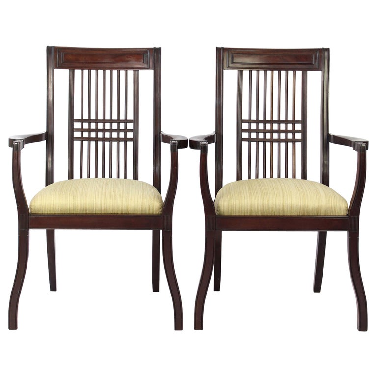 Antique English Arts Crafts Mahogany Chairs Mackintosh Style Armchairs Pair For