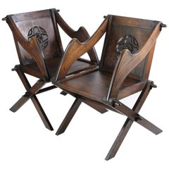 Pair of Antique English Arts & Crafts Oak Glastonbury Chairs Gothic Armchair