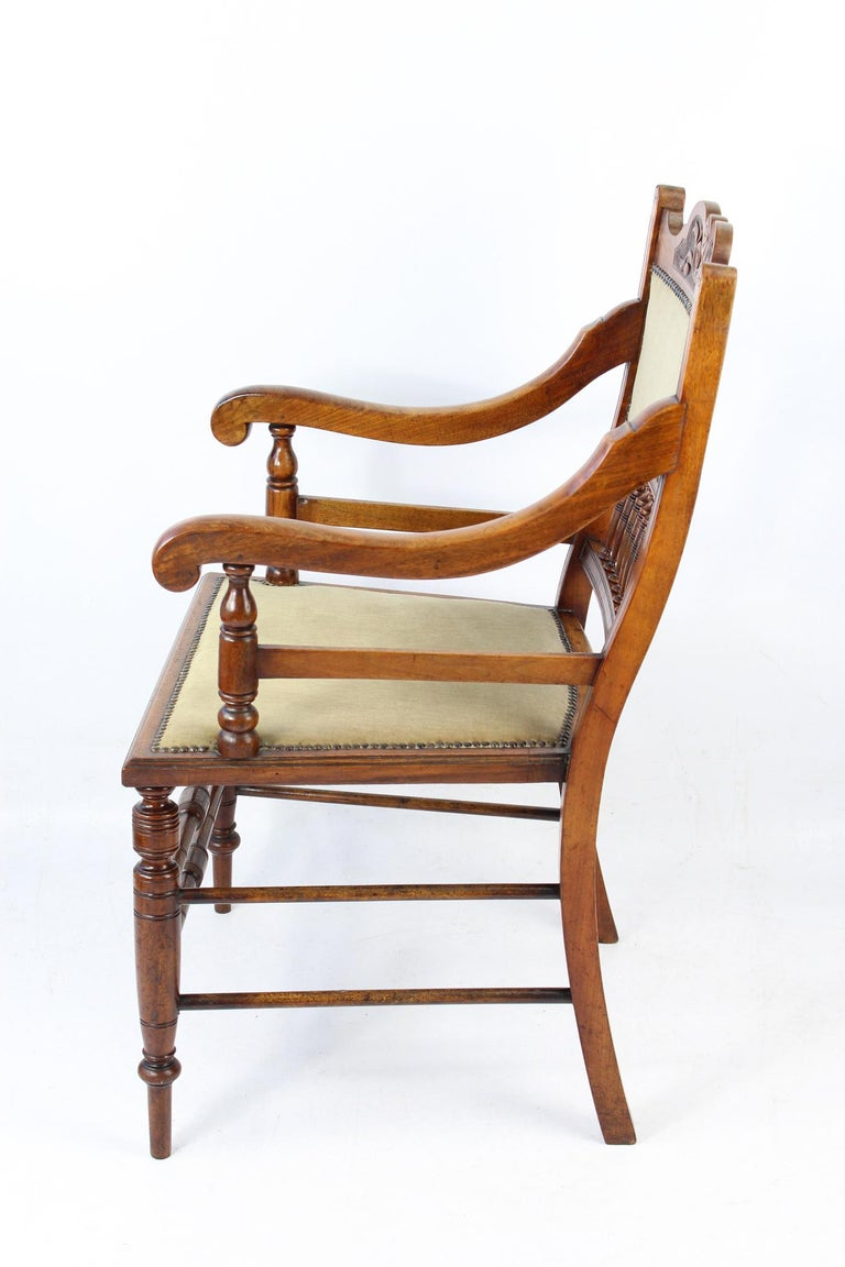 Amazing Antique English Edwardian Arts Crafts Walnut Open Armchairs Desk Chairs Pair Ncnpc Chair Design For Home Ncnpcorg
