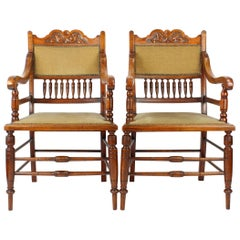 Antique English Edwardian Arts & Crafts Walnut Open Armchairs Desk Chairs, Pair