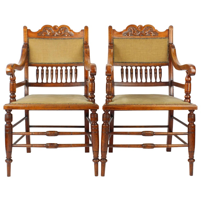 Antique English Edwardian Arts Crafts Walnut Open Armchairs Desk Chairs Pair For
