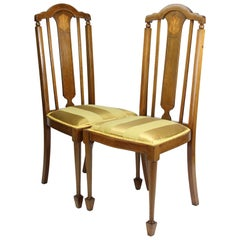 Antique English Edwardian Mahogany Side Chairs Dining Room Hall Desk Chair, Pair