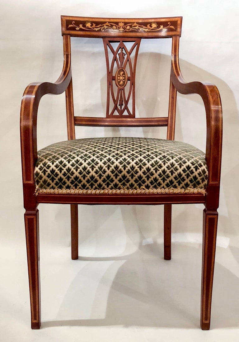 Pair of antique English mahogany armchairs, circa 1880. Seat height is 20