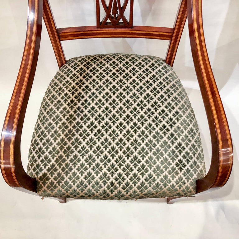 Pair of Antique English Mahogany Armchairs, circa 1880 In Excellent Condition For Sale In New Orleans, LA