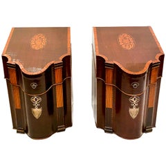 Pair of Antique English Mahogany Sheraton Knife Boxes with Satinwood, circa 1860