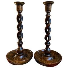 Pair of Antique English Oak Open Barley Twist Candlesticks Candleholder Brass