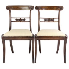 Pair of English Regency Mahogany and Brass Dining Chairs Georgian, circa 1810