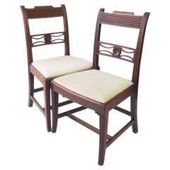 Antique English Regency Mahogany Chairs circa 1820 Georgian Dining Chairs, Pair