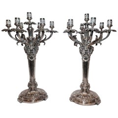 """Pair Antique English Sheffield Silver Candelabra Retailed by """"Walker & Hall Co."""""""