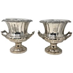 Antique English Sheffield Silver Plated Champagne Buckets, circa 1880-1890, Pair