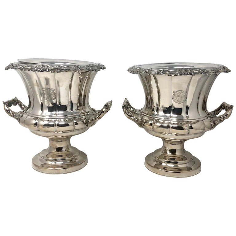 Antique English Sheffield Silver Plated Champagne Buckets, circa 1880-1890, Pair For Sale