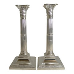Pair of Antique English Silver Plated Candlesticks by Mappin & Webb, circa 1890