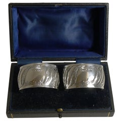 Pair of Antique English Sterling Silver Napkin Rings, 1898
