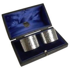 Pair of Antique English Sterling Silver Napkin Rings by Henry Bourne