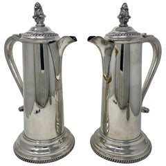 Pair of Antique English Victorian Silver Plated Tankards, circa 1870-1890