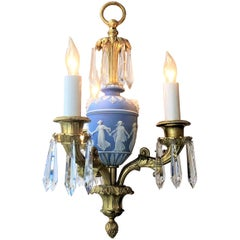 Pair Antique English Wedgwood, Bronze D'ore and Crystal Chandeliers, circa 1880