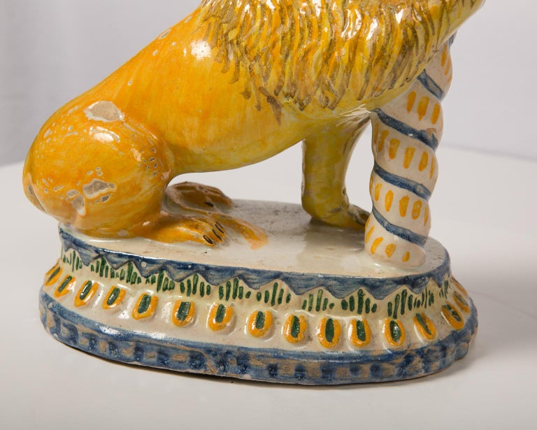 Pair of Antique Faience Lions 15