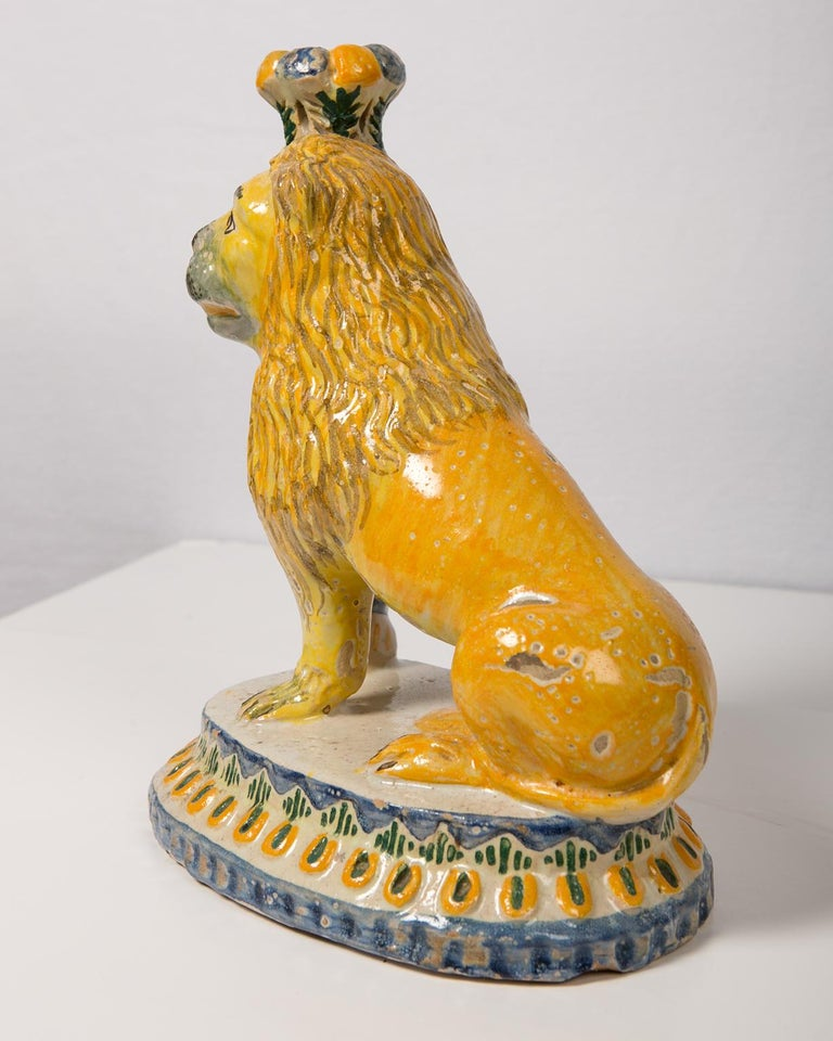 Pair of Antique Faience Lions 16