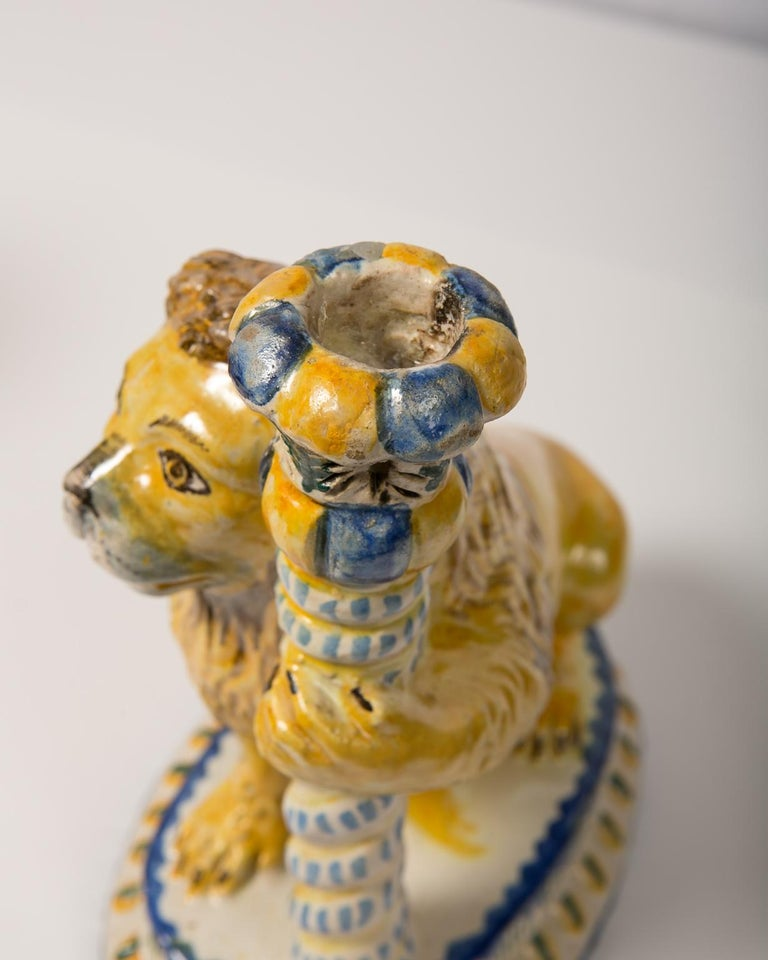 Pair of Antique Faience Lions 17