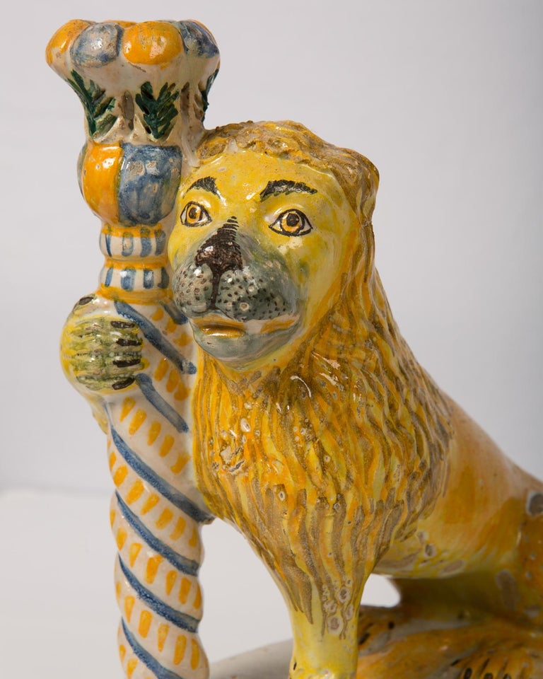 Neoclassical Pair of Antique Faience Lions For Sale