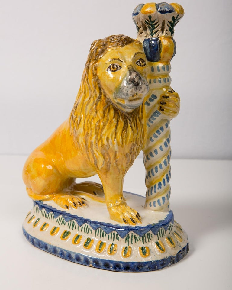 Italian Pair of Antique Faience Lions For Sale