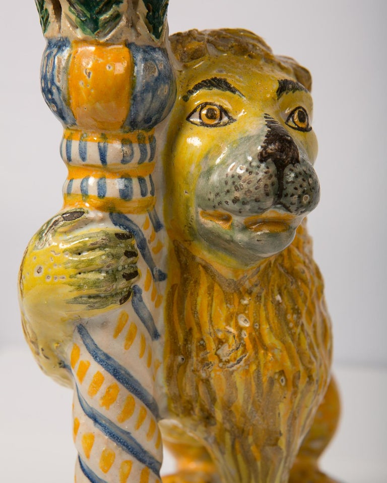 Hand-Painted Pair of Antique Faience Lions For Sale