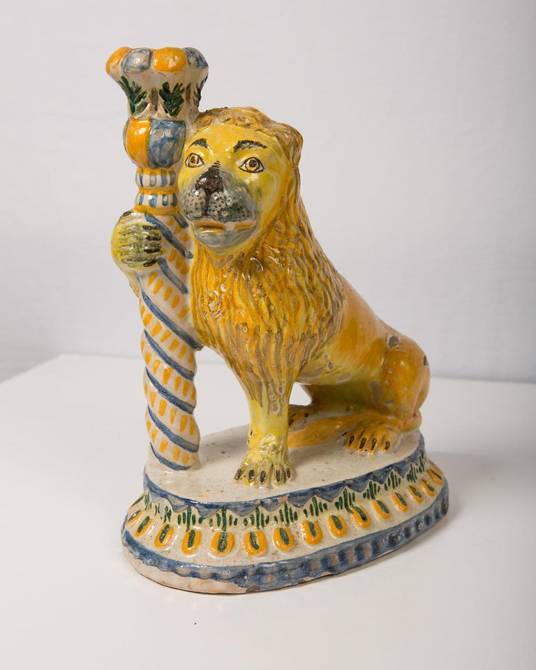 Pair of Antique Faience Lions 6