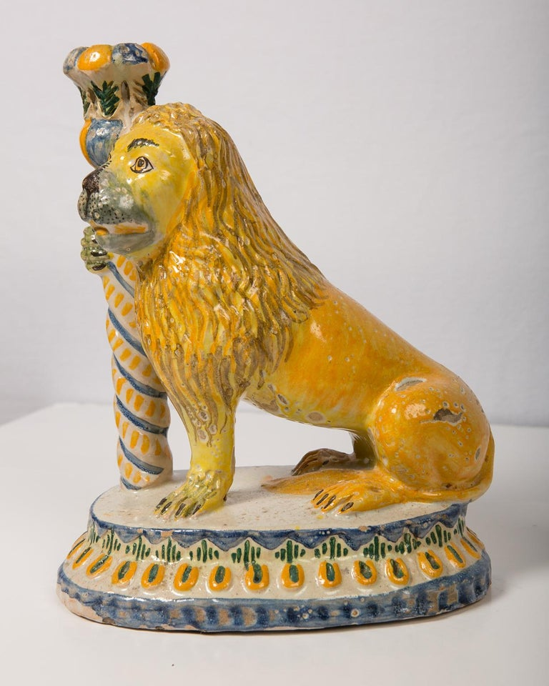 Pair of Antique Faience Lions For Sale 1