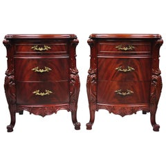 "Pair Antique Flame Mahogany Carved French ""Swan"" Style Nightstands Bedside Table"