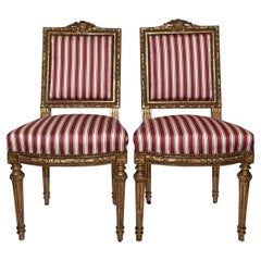 Pair Antique French 18th Century Louis XVI Side Chairs, Carved Wood with Gold