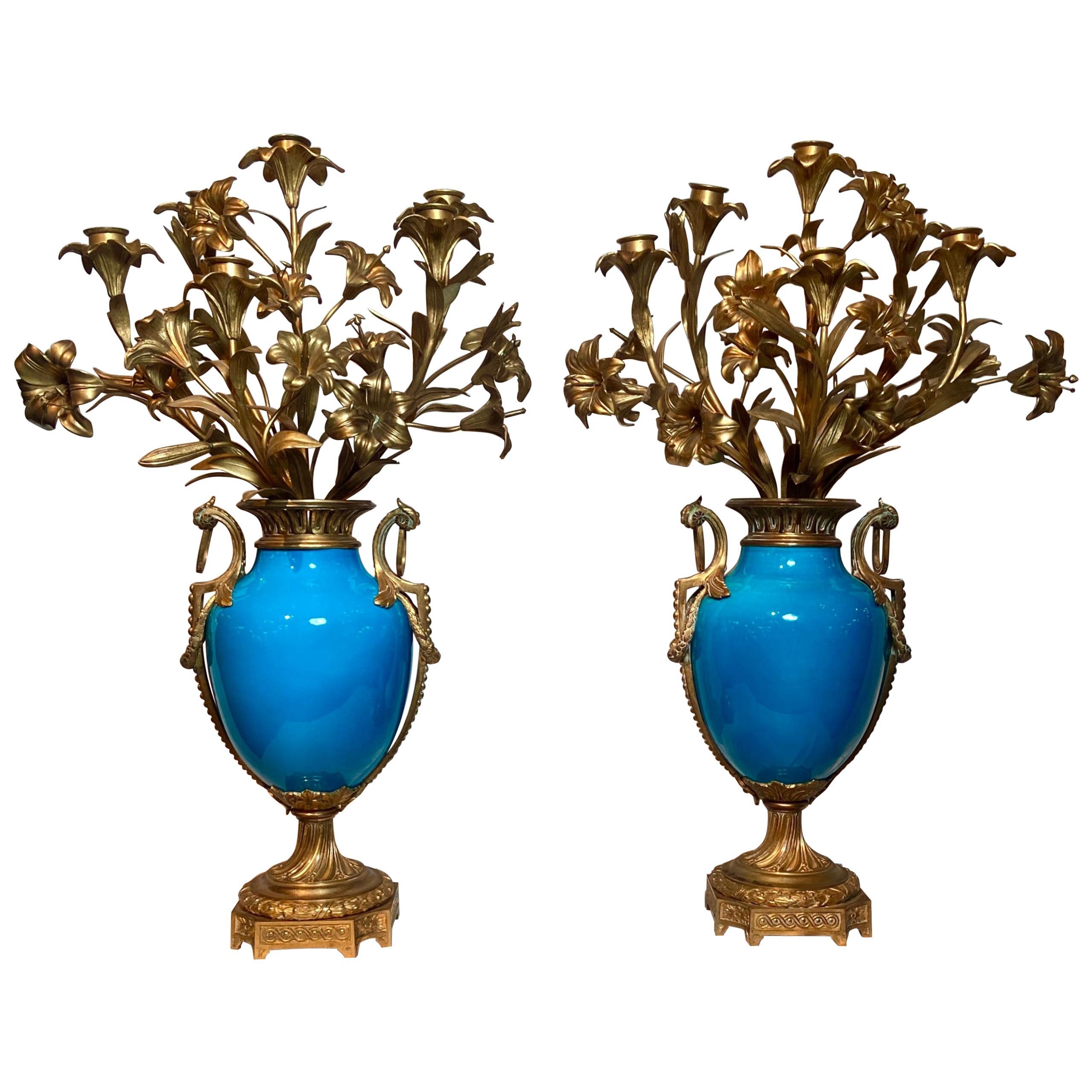 Pair Antique French Blue Sèvres Porcelain Ormolu Candelabra, Circa 1870-1880