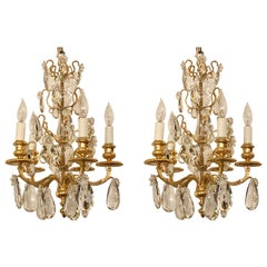 Pair Antique French Bronze D'ore and Crystal Chandeliers, Circa 1890-1900