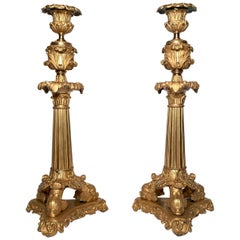 Pair Antique French Charles X Ormulu Candle Sticks, Circa 1820-1830