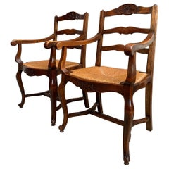 Pair of Antique French Country Carved Oak Ladder Back Dining Armchair Rush Seat