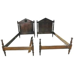 Antique French Directoire Style Solid Walnut Twin Single Beds, circa 1890s, Pair