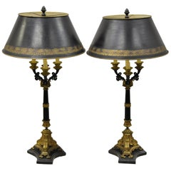 Pair of French Empire Bronze Tall Candelabras Table Lamps with Marble Bases