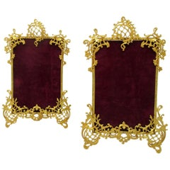 Pair Antique French Gilt Bronze Ormolu Rococo Portrait Photo Picture Frames 19Ct