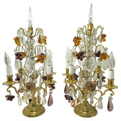 Pair Antique French Gold Bronze and Color Crystal Girandoles, Circa 1880s-1890's