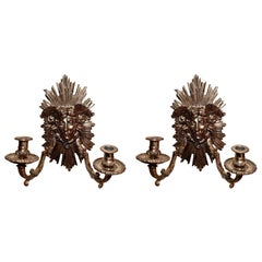 Pair Antique French Gold Bronze Wall Sconces, Circa 1890